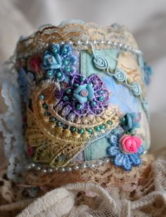 hues of pink, blue and purple, with lots of lace and romance