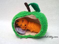 Gusano de la manzana - amigurumi PDF crochet patrón para dormir