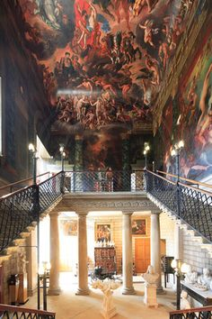 "The ""Hell Staircase"" in Burghley House, Lincolnshire. Painted by Antonio Verrio. //"