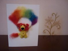 3D greeting handmade card with needle felted miniature by OlessiaWoolPets #springgiftideas