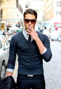 Very handsome look minus the cigarette