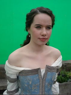 Anna Popplewell on the set of Prince Caspian