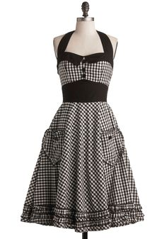 Salty and Pepper Dress. The pattern on this gingham frock may be square, though it's anything but boring.  #modcloth