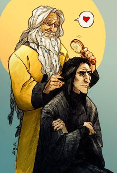 Snape looks so grumpy as he usually does and Dumbledore is adoring Snape like how he does with Fawkes.