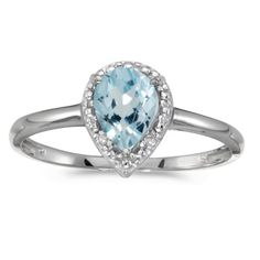 10k White Gold Pear Aquamarine And Diamond Ring (Size 10.5), Women's, Blue
