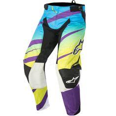 2016 Alpinestars Techstar Pants - Venom Lime Green Cyan Purple