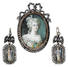 Late 18th Century brooch, pendant and earrings set--love the bows on the earrings!