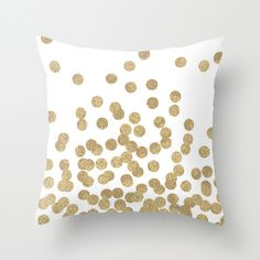 Gold Glitter Dots in scattered pattern Throw Pillow