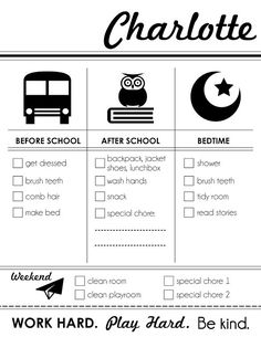 Printable Chore Chart. I like that it's not just the old boring chore chart. Plus the kids can have fun decorating with markers, stickers, etc.