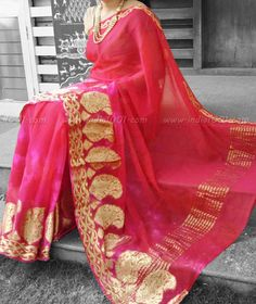 Stunning Pure Georgette Saree with woven borders