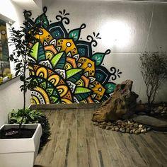 No automatic alt text available. Mandala Mural, Mandala Painting, Graffiti Wall Art, Mural Wall Art, Wall Art Designs, Wall Design, Wall Painting Decor, Deco Originale, Bedroom Murals