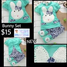 New Cute Bunny Outfit Set $15. Update:  6-12m Green & 2-3yrs Pink Sold Out Colors Pink/Green Sizes Available: 6-12m, 1-2yrs, 2-3yrs, 3-4yrs