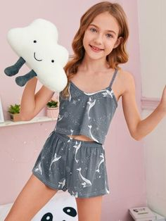 Grey Cute Short Sleeve Polyester Cartoon Galaxy Short Sets Slight Stretch Girls Loungewear, size features are:Bust: ,Length: ,Sleeve Length:Short Sleeve Cute Sleepwear, Girls Sleepwear, Girls Pajamas, Young Girl Fashion, Tween Fashion, Girls Fashion Clothes, Kids Clothing, Cute Comfy Outfits, Cute Girl Outfits