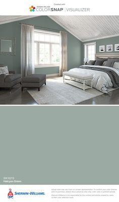 I found this color with ColorSnap® Visualizer for iPhone by Sherwin-Williams: Halcyon Green (SW 6213).