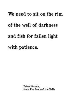 We need to sit on the rim of the well of darkness and fish for fallen light with patience.  - Pablo Neruda, The Sea and the Bells