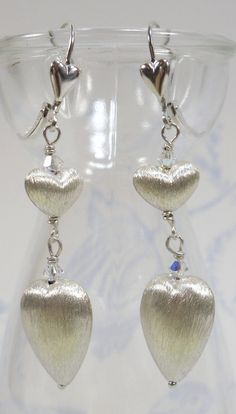 Silver Hearts Earrings  Brushed Sterling Silver by SLCDesignsUK