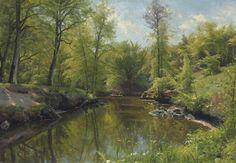 Peder Mørk Mønsted (Danish, 1859-1941) Rowing on a River in Summer, 1922 oil on canvas 27½ x 39¾ in.