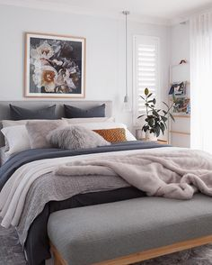 Modern Bedroom Decor Ideas Look Luxury - Home Decor Interior Dream Bedroom, Home Decor Bedroom, Modern Bedroom, Bedroom Bed, Spare Bedroom Ideas, Lilac Bedroom, Scandinavian Style Bedroom, Master Bedroom, Bedroom Cushions