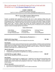 Resume For Retail Jobs Resume  Cv Store Manager  Pinterest