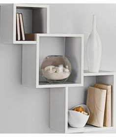8 Pc Interlocking Cube Wall Shelf Set Trophy Display