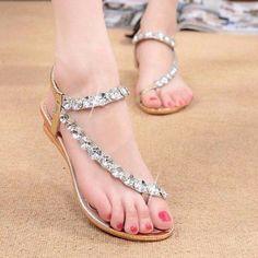 Stylish Rhinestone Elastic Women Flat Sandals