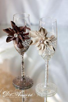 Chocolate & ivory Wedding glasses / Burgundy bride от DiAmoreDS