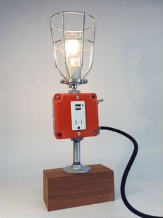 Retro Lamp Burnt Orange Industrial Light USB Cell Phone Mid Century Modern Mod Dorm Decor iPhone iPod Charger Teak Wood Coffee Shop