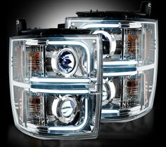 RECON OLED Halo / DRL Projector Headlights 2014-2015 Chevy Silverado (Clear/Chrome)