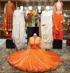Inside the Ensemble Store in Delhi: Summer 2014 Bridal Buys ! Indian Groom Dress, Dress Indian Style, Indian Attire, Indian Dresses, Indian Wear, Indian Outfits, Clothing Boutique Interior, Fashion Window Display, Satin Saree