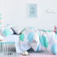 Adairs Kids Cloud Quilted Mint linen