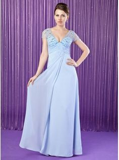 Mother of the Bride Dresses - $169.99 - A-Line/Princess V-neck Floor-Length Chiffon Tulle Mother of the Bride Dress With Ruffle Beading  http://www.dressfirst.com/A-Line-Princess-V-Neck-Floor-Length-Chiffon-Tulle-Mother-Of-The-Bride-Dress-With-Ruffle-Beading-008018728-g18728