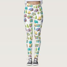 Cute leggings for women who enjoy camping. These leggings have a camper campground pattern. Camper pattern leggings for women. Size: M Color: Olive / Dark Cyan / Lavender. Backyard Camping, Diy Camping, Camping Gifts, Tent Camping, Camping Places, Camping Ideas, Camping Coffee, Camping Theme, Camping Gift Baskets