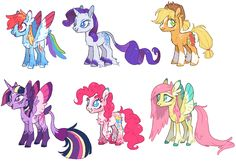 Hey Guys guess who decided to do a bunch of fancy over-the-top redesigns for no reason. I had wayyyy too much fun with these I even made a speedpaint for the Mane 6 base-edits so here's that (I tried...