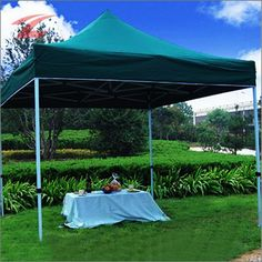 Faltpavillon 3 x 3, aus Polyester mit PVC-Beschichtung, wasserdicht, UV-beständig, lackiertes Stahlgestell, 3030W-Dunkelgrün
