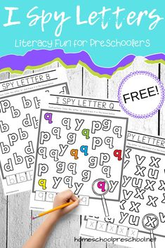 Download this free set of I Spy Letters alphabet worksheets. They will make a great addition to your preschool literacy centers. #ispyprintablesfree #ispyactivities #literacyfun #homeschoolprek