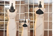 Discount Junoesque Champagne Round Neck Sleeveless Knee-Lenght Satin Lace With Sash Mother of Bride Dresses Online with $125.99/Piece | DHgate