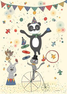 Circus Art Print for Kids, Circus Poster by Amelie Biggs Laffaiteur