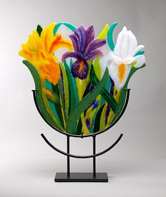 Iris Trio: Anne Nye: Art Glass Sculpture - Artful Home