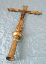 Croix de procession chrétienne christ religion France en bronze fin 18-19 ème