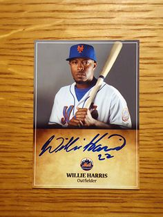 Willie Harris: (2011 New York Mets) Custom made Mets baseball card signed in blue sharpie. (From my All-Time Mets Roster collection.)