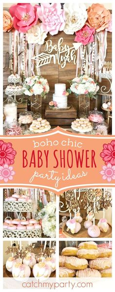 Take a look at this wonderful boho chic baby shower! The cake pops are gorgeous!! See more party ideas and share yours at CatchMyParty.com #partyideas #bohochic #babyshower - The latest in Bohemian Fashion! These literally go viral!