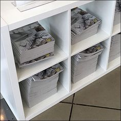 This IKEA Catalog Cubbyhole Display may actually be a piece of furniture inside the store. See how it handles IKEA catalog storage and distribution. Retail Fixtures, Store Fixtures, Ikea New, New Cabinet, Catalog, Bookcase, Literature, Stationery, Storage