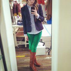Kelly green jeans + light blue Oxford + navy blazer + boots