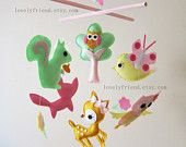 Woodland Baby Mobile - Baby Crib Mobile - Deer and Squirrel Nursery mobile - owl, bird, tree,  fox mobile (Choose Your Felt Color)