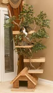 Pet Tree Houses' Lifelike Mature Large Cat Tree House is a bit different from these standard models in that an actual tree is actually part of the design and intertwines itself amongst the platforms of it. Cool Cat Trees, Cool Cats, Cat Trees Diy Easy, Cat Tree Designs, Large Cat Tree, Cat Tree House, Tree Houses, Kitty House, Cat Houses