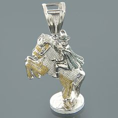 14k yellow gold diamond horse pendant