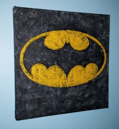 Grunge textured Batman logo with embossed bat outline - Acrylic on canvas - for sale on my Etsy