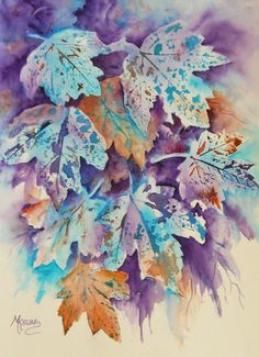 FALL BLUES (watercolor 11x15 inches) by Colorado Artist Martha Kisling - every fall I love to go outside and pick real leaves to use as a starting point for my paintings. I apply wateroclor to the backs and use them as stamps for some of the leaf images in the painting, then come back and paint in more leaves and add details.