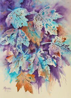 Abstrakte Aquarell Herbst Blätter Blues lila von MarthaKislingArt