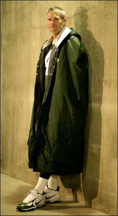 Brett Favre rocking it like WWE's The Undertaker with the long jacket .